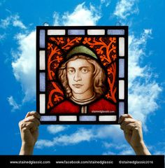 Stained Glass window, 'Oration on the Dignity of Men' Panel, Leaded, Ready to Hang, 328x352mm (13x13.9inch) Ref:Pico
