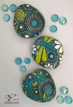 ROCK ART! Hand Painted Trio of Stones by ethereal & earth - otherworldly & of this world creations! $36 with FREE US Shipping!