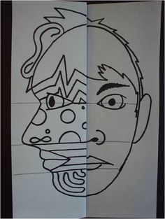 """3rd grade Picasso Faces project that goes along with the book """"Getting to Know the Worlds Greatest Artists"""" by Mike Venezia."""