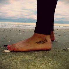 Simple Small Mountains Tattoo On Foot