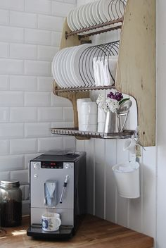Mitt livselixir just nu. & Practical Kitchen Needs. A Dish Drying Rack inside the cupboard ...
