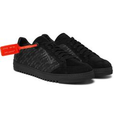 Off-White - Logo-Print Suede-Trimmed Nubuck Sneakers - Men - Black Off White Mens, Off White Shoes, Boot Shop, Signature Style, Vans Shoes, Fashion Advice, Suede Leather, All Black Sneakers, Black And Grey