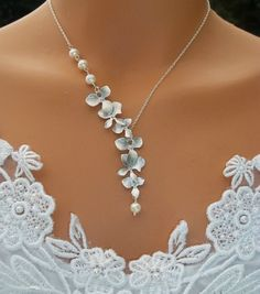 Silver Orchid Necklace  Pearl Necklace  Wedding by LadyKJewelry, $39.00