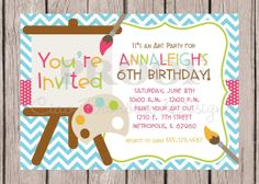 Printable Invitation - Art Party - I Design - You Print - Painting, Pottery, Crafts