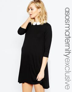 ASOS Maternity Swing Dress With Contrast Scallop Collar