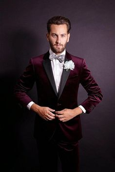 Handsome One Button Dark Red Velvet Groom Tuxedos Notch Lapel Groomsmen Best Man Mens Weddings Prom Suits (Jacket+Pants+Girdle+Tie) NO:2511