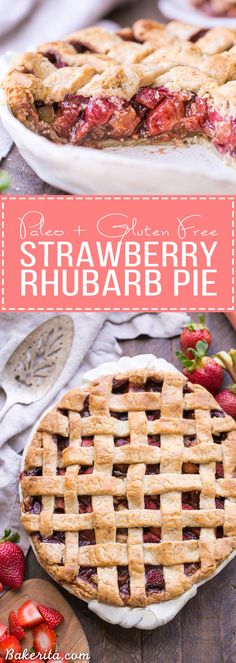 This Paleo Strawberry Rhubarb Pie is bursting with fresh strawberries and rhubarb, creating a delectable tart + sweet pie! The crisp and flaky gluten-free + grain-free crust is the perfect vessel for the lightly spiced fruit filling.