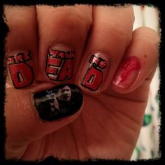 The Walking Dead nail art :)   Daryl Dixon gets my thumb.... and my heart. ;) - Continued!