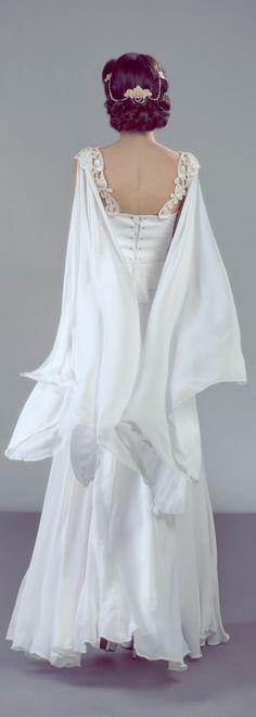 romantic fairy inspired wedding dress with chiffon wings