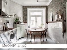 Una casa di gusto nordico con un mix di stili tra shabby e industrial.