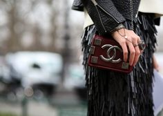 #StreetStyle accessories: CHANEL Fall/Winter 2013/14 flap bag in burgundy