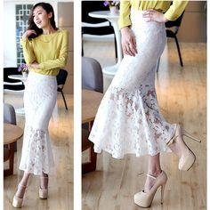 Весна осень женщины русалка макси юбка дамы шифон кружево вязка крючком вышивка полые длинная юбки(China (Mainland))