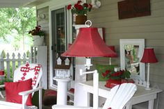 Country porch in red and white