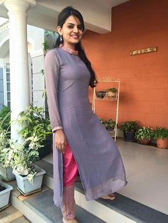 jinu george's media statistics and analytics Simple Kurti Designs, Salwar Designs, Kurta Designs Women, Kurti Designs Party Wear, Dress Neck Designs, Stylish Dress Designs, Designs For Dresses, Stylish Dresses, Blouse Designs