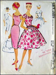 McCall's 4957 1959 -Out of Print- Stunning Party Dress Dress with Slim or Full Skirt. Draped neck dress with fitted bodice and three-gore slim skirt or four-gore gathered skirt. Contrast shoulder straps or self fabric shoulder drapes which form split collar at back. Collar is interfaced with organdy or taffeta. Bodice is lined. Center back zipper closing. Low pleat in back of slim skirt. SIZE 14 Bust 34 Waist 26 Hip 36 at FarfallaDesignStudio on etsy.com. jwt