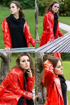 Chiara feels very comfortable in her hot red vinyl piece. In this public park her red vinyl coat is a real head-turner. The wind blowing through her hair, movin Vinyl Raincoat, Pvc Raincoat, Rainy Day Fashion, Raincoats For Women, Rain Wear, Girls In Love, Girls Wear, Gothic Fashion, Leather Jacket