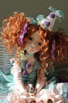 Купить Полет - бирюзовый, рыжий, розовый, кукла ручной работы, кукла, кукла в подарок