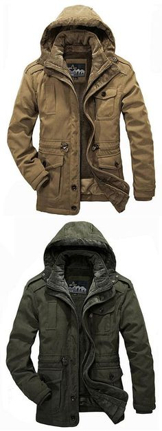 Plus Size Two Pieces Lambswool Liner Outdoor Casual Thicken Warm Jackets for Men