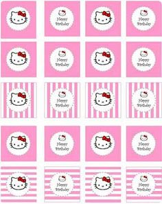Hello Kitty Party Printable Circles ~ for cupcake toppers, favors, tags, etc. from Party Tales Hello Kitty Baby Shower, Hello Kitty Birthday, Party Printables, Free Printables, Easter Printables, Anniversaire Hello Kitty, Hallo Kitty, Hello Kitty Cupcakes, Hello Kitty Themes