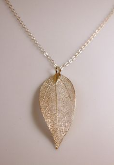 Real Aspen Leaf Dipped in 24K Gold Pendant Necklace Aspen leaf