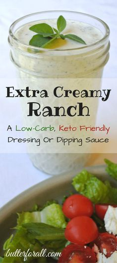 You dont have to be on a lowcarb or keto diet to love this Extra Creamy Ranch dressing and dipping sauce The lemony herby flavor will delight your tastebuds Visit the But. Ketogenic Recipes, Low Carb Recipes, Diet Recipes, Juice Recipes, Salad Recipes, Cookie Recipes, Recipies, Healthy Recipes, Keto Sauces