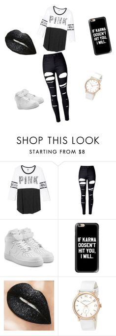 """Pink!!!!"" by dyhmonae on Polyvore featuring Victoria's Secret, WithChic, NIKE, Casetify and Marc by Marc Jacobs"
