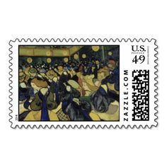 Dance Hall in Arles by Vincent Van Gogh Stamp