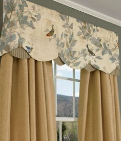 The beautifully mottled fabric, scalloped silhouette and coordinating ribbed stripe buttons and fabric underlayer make this valance a truly elegant choice. (Country Curtains Aviary Lined Layered Scalloped Valance) Curtains And Draperies, Bedroom Drapes, Valances, Burlap Curtains, Drapery, Shower Curtains, Curtain Styles, Curtain Designs, Curtain Ideas
