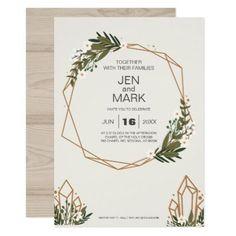 #Modern Geometric Woodsy Wreath Wedding Invitation. Card - #weddinginvitations #wedding #invitations #party #card #cards #invitation #simple