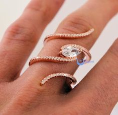 Spiral Fashion Ring PAMELA Signity CZ Pave/Prong Set Rose Gold over Sterling Silver - Zhannel  - 2