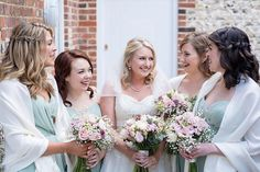 Katy and her bridesmaids. Flowers by www.rose-cottage-flowers.co.uk