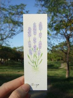 Lavender - hand-painted watercolor bookmark, original painting. Size: 13 x 3.9 cm - Still life flower paintings, floral artwork, plant illustration, purple flower, it's a small painting, can be framed as deco on desk or wall. Facebook: https://www.facebook.com/ringo.handpainter