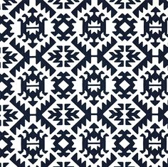 Blue  Tribal  Fabric, Navy and White Fabric, Tribal Fabric, Pawnee Navy Tribal Fabric