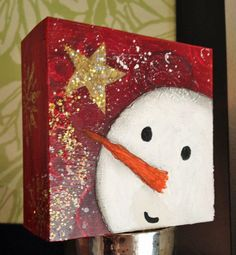 Snowman, Christmas Decor Art, Whimsical Winter 4x4 Original Painting Woodblock, Star, Snow. $24.00, via Etsy.