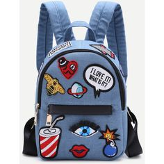 Light Blue Zip Front Cartoon Patch Mini Backpack ($23) ❤ liked on Polyvore featuring bags, backpacks, blue, mini rucksack, cartoon backpack, knapsack bag, front zip backpack and comic bag