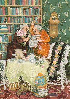 Groothandel Postkaarten van Inge Look number 31 Arte Game Of Thrones, Old Lady Humor, Old Folks, Alphonse Mucha, Old Women, Getting Old, Finland, Illustrators, Folk Art