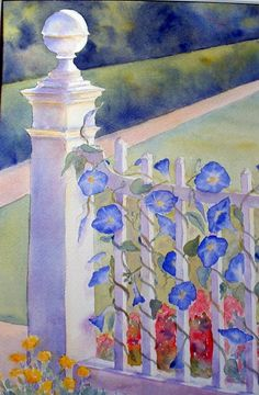 """Heavenly Blue"" watercolor by Sue Martin"