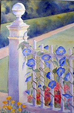 """Heavenly Blue"" watercolor by Sue Martin"