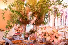 I like the smaller arrangements for this dessert table - Wedding Chateau D'Esclimont – France » Clarissa Rezende