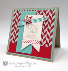 •SNEAK PEEK!  I used both the Stampin' Up! Perfect Pennants stamp set and new coordinating Banners Framelits Dies to create the sentiment pennant!  Both are available in the Stampin' Up! Occasions Catalog starting Jan. 3! Card By Mary Fish aka Stampin' Pretty