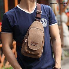 กระเป๋าสะพาย Cross-Body Canvas รุ่น F4MZ8100BN - สีน้ำตาล