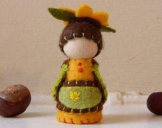Sunflower Gnome, Flower Fairy, wooden peg doll gnome