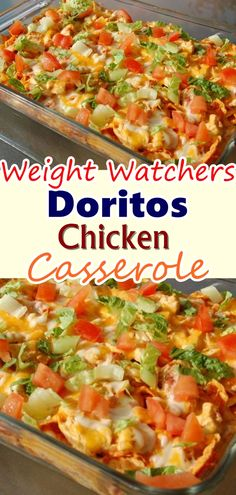Dorito chicken casserole is a simple and flavorful meal with a crunchy cheese and Dorito chip topping and crust. This is a casserole the whole family will love! Don't forget to Pin this so it will be SAVED to your timeline! Weight Watchers Casserole, Weight Watchers Meal Plans, Weight Watchers Diet, Weight Watcher Dinners, Weight Watchers Chicken, Weight Watchers Enchiladas, Weight Watchers Lunches, Meat Recipes, Cooking Recipes