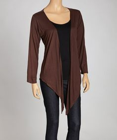 Take a look at this Brown Sidetail Open Cardigan by Indian Tropical Fashions on #zulily today!