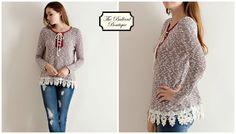 Burgundy lace up top with crochet trim. Women's sizes S-L. www.theballardboutique.com
