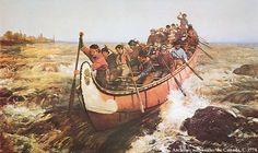 Canadian voyageurs at work in their North Canoe for the Hudson's Bay Company. Painting is by Frances Anne Hopkins Shooting the Rapids, c. 1879 Oil on canvas National Archives of Canada Canadian History, Canadian Art, American History, Family History, Art History, Local History, Trinidad, Jamaica, Culture Art