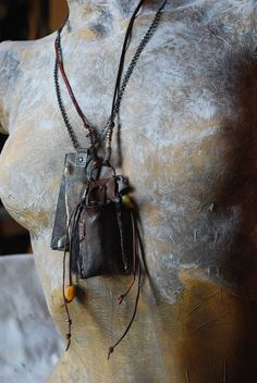 """travel - talismanic pouch to protect the eternal traveller by Alek Lindus cool """"purse"""" idea for wasteland Textile Jewelry, Ethnic Jewelry, Jewelry Art, Jewelry Necklaces, Jewelry Design, Talisman, Arrow Necklace, Pendant Necklace, Medicine Bag"""