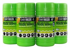 Dirteeze Professional WINDOW, MIRROR, GLASS, TILE & PLASTIC Cleaning Wipes by DIRTEEZE - No marks, Streak-Free, Quick Drying - 80 wipes tub x 4