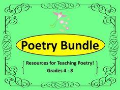 Poetry Bundle - Poetry Teaching Resources! Grades 4 - 8 $