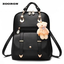 ZOORON 2017 Women Backpack New Spring And Summer Students Backpack Girls Korean Style Backpacks With Bear High Quality(China (Mainland))